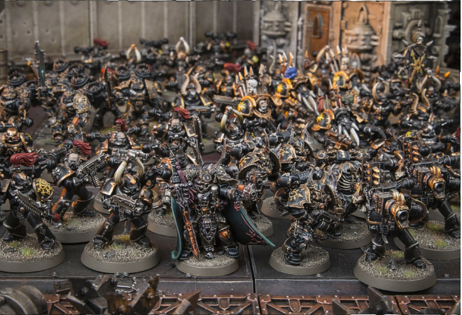 BLACK LEGION WARBAND FORMATION: 1 Chaos Lord, 0-1 Sorcerer, 2-6 units of Chaos Space Marines or Chosen (in any combination), 1-3 units of ChaosTerminators or Possessed (in any combination), 1-3 units of Raptors, Warp Talons or Bikers (in any combination)