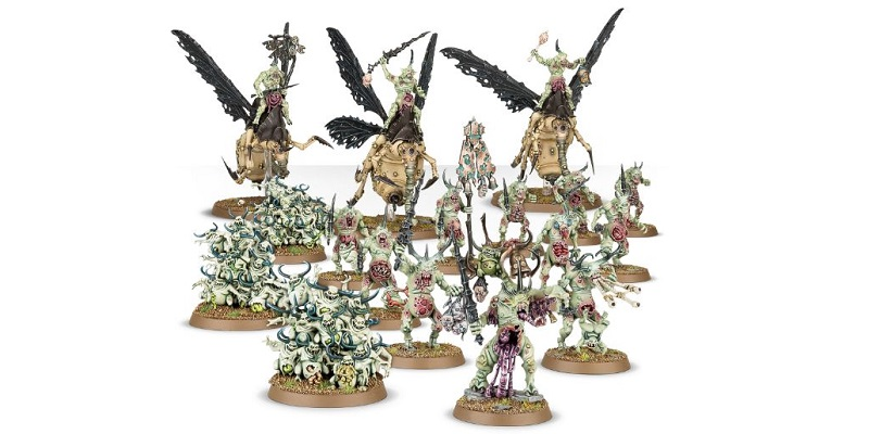 В набор входят: один Герольд Нургла, чумные дроны Нургла (они же мухи) - 3 штуки, три выводка нурглингов и отряд из десяти хвореносцев Нургла