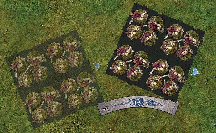 Перемещение отряда с помощью шаблона в игре RuneWars: The Miniatures Game