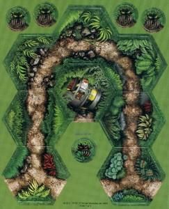 Карта джунглей и гекс с кораблем