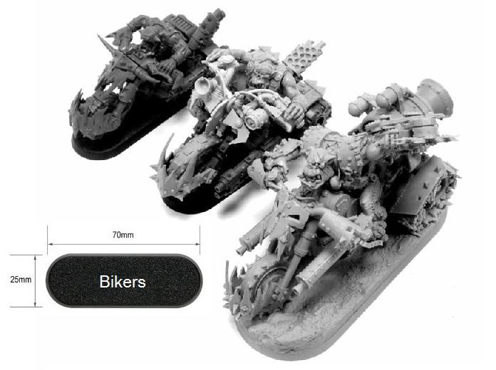 70x25 мм [байкерская база] Space Marine biker, Scout biker, Ork biker, Nob biker, Seeker of Slaanesh, Renegade ogryn hound