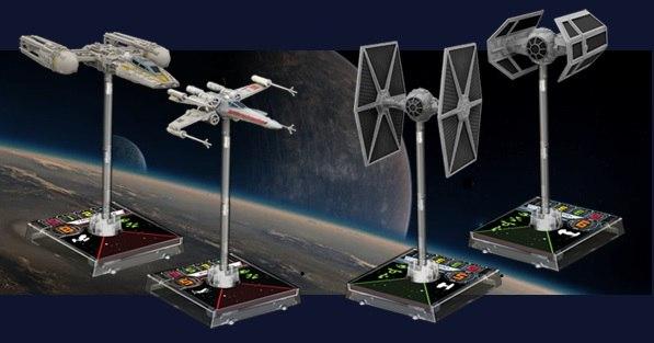 истребитель X-wing и штурмовик Y-wing для Повстанцев и два истребителя TIE-Fighter и TIE-Advanced для Империи