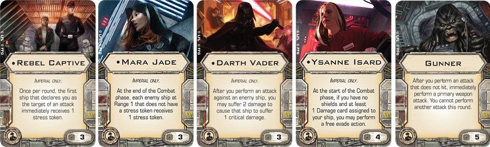 Карты Crew Команда: Rebel Captive, Mara Jade, Darth Vader , Ysanne Isard и Gunner